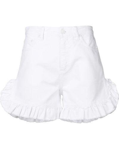 Джинсовые шорты белые с оборками Msgm