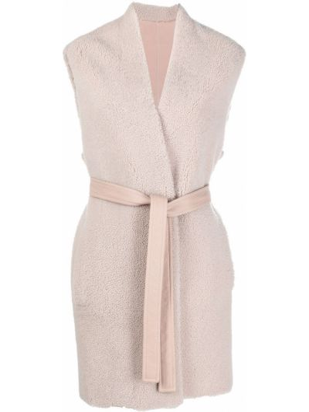 Розовое кожаное пальто без рукавов Blancha