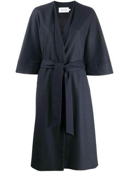 Синее шерстяное пальто с капюшоном Calvin Klein