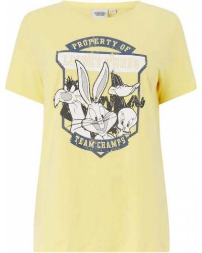 T-shirt z printem - żółta Only Carmakoma