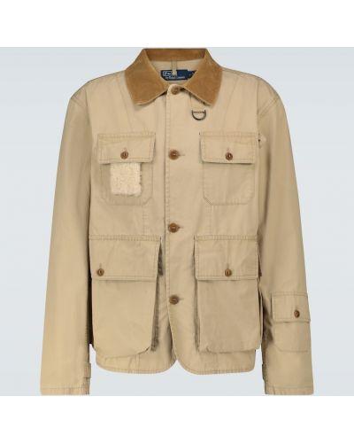 Бежевая кожаная спортивная куртка милитари Polo Ralph Lauren