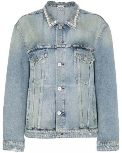 Куртка с капюшоном джинсовая длинная Miu Miu