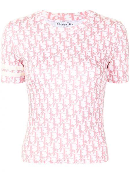 Różowy t-shirt bawełniany krótki rękaw Christian Dior