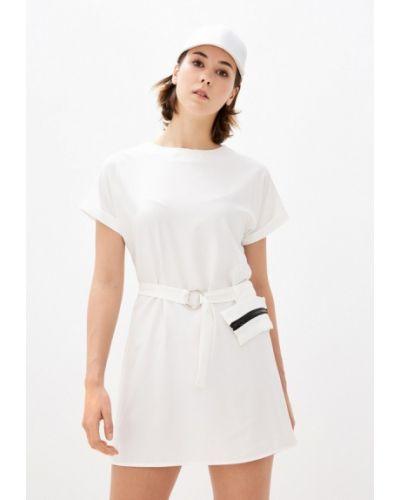 Прямое белое платье Pink Summer