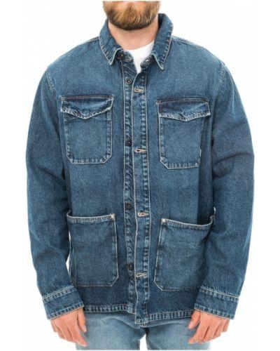 Niebieski kurtka jeansowa z kołnierzem z kieszeniami Tommy Hilfiger