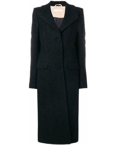 Шерстяное черное пальто с капюшоном Ssheena