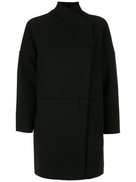 Шерстяное черное длинное пальто с воротником Osklen