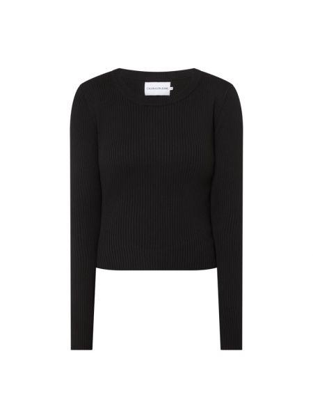 Prążkowana czarna bluzka bawełniana Calvin Klein Jeans