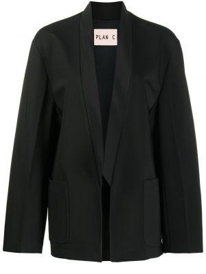 Прямой шерстяной черный удлиненный пиджак Plan C