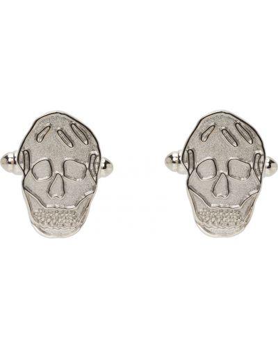 Серебряные запонки с черепами Alexander Mcqueen