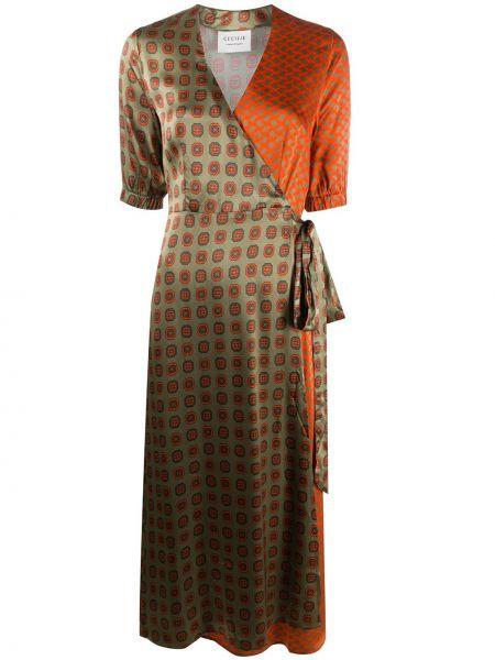 Зеленое платье миди с запахом с V-образным вырезом с короткими рукавами Cecilie Copenhagen