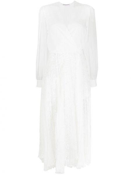 Кружевное белое платье миди с вырезом Ermanno Scervino