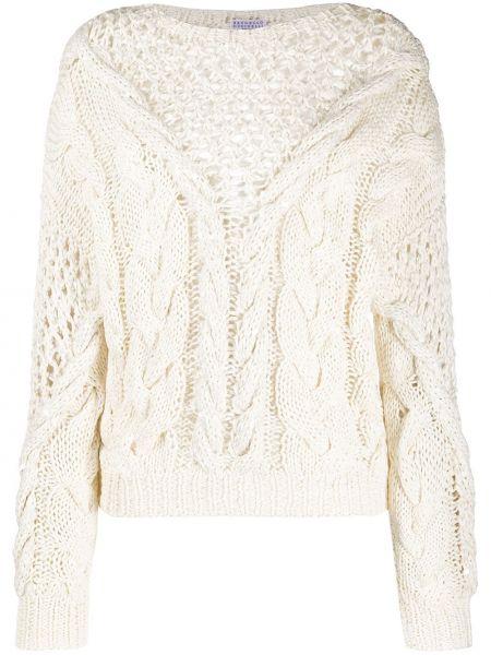 Белый свитер оверсайз со спущенными плечами в рубчик с круглым вырезом Brunello Cucinelli