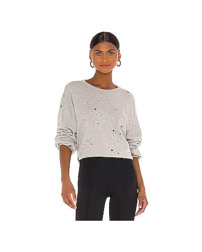 Хлопковый серый свитер крупной вязки Michael Lauren