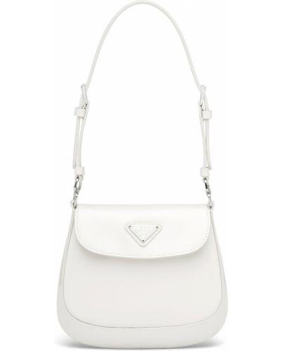 Белая кожаная сумка Prada