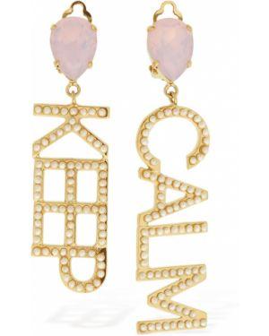 Szare złote kolczyki sztyfty perły Bijoux De Famille