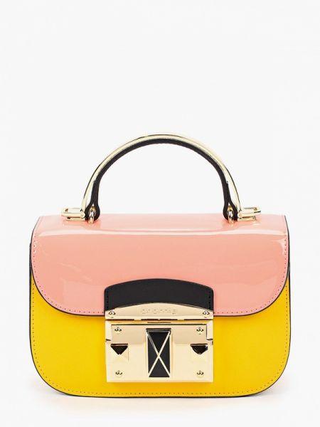 Желтая кожаная сумка с перьями из натуральной кожи Cromia