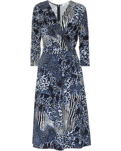 Платье миди из вискозы синее Max Mara