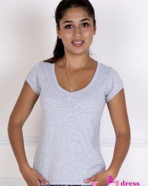 Спортивная футболка серая приталенная Lika Dress