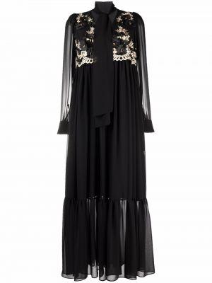 Czarna sukienka długa w kwiaty Antonio Marras