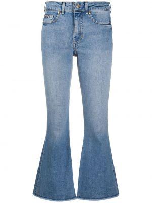 Укороченные джинсы с высокой посадкой с вышивкой стрейч Versace Jeans Couture