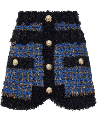 Синяя юбка мини с пайетками Balmain