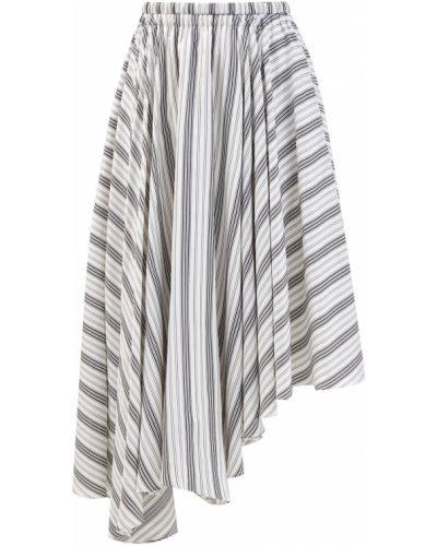 Шифоновая асимметричная юбка миди с поясом с сеткой Brunello Cucinelli