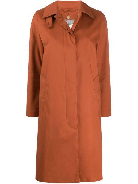 Шерстяное длинное пальто с капюшоном с воротником Mackintosh