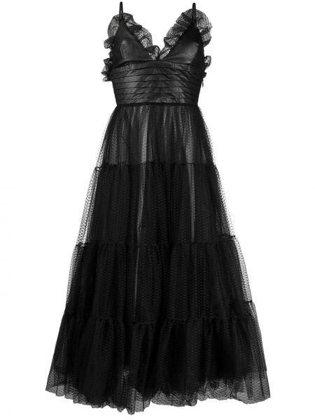 Czarna sukienka midi rozkloszowana tiulowa Brognano