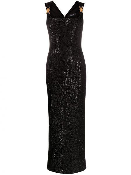 Черное платье макси без рукавов с вырезом Versace