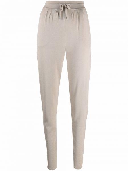 Шелковые бежевые брюки стрейч Maison Ullens
