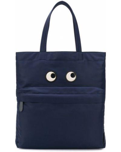 Niebieski nylon otwarty torba na zakupy Anya Hindmarch