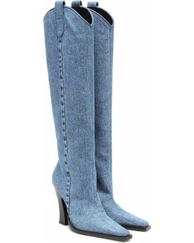 Синие кожаные ботинки до середины колена Tom Ford