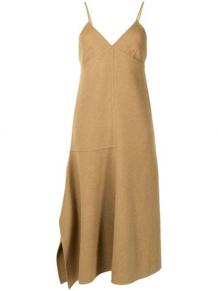 Brązowa sukienka wełniana Tibi