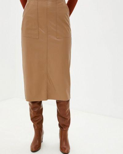 Кожаная юбка итальянский бежевый Massimiliano Bini