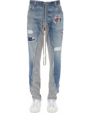 Niebieskie jeansy sznurowane z paskiem Greg Lauren