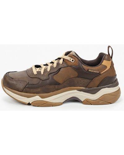 Коричневые кожаные кроссовки Skechers