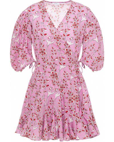 Różowa sukienka mini kopertowa bawełniana Rhode