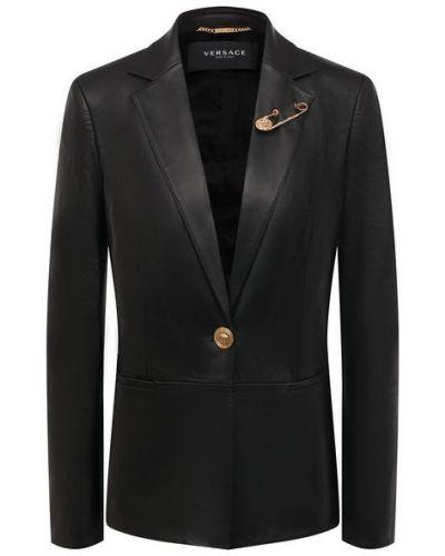 Кожаный пиджак - черный Versace
