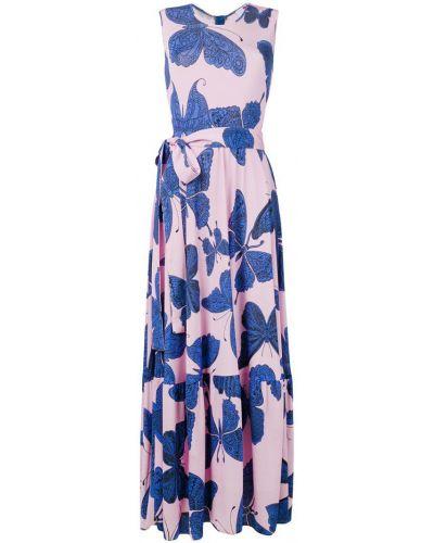 Платье с поясом розовое с вырезом Ultràchic