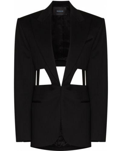 Однобортный черный удлиненный пиджак с карманами Mugler