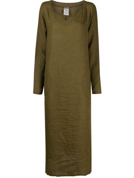 Длинное льняное платье на пуговицах хаки Kristensen Du Nord