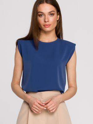 Niebieska bluzka bez rękawów do pracy Stylove