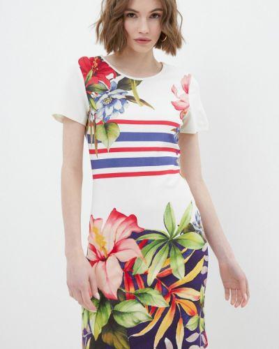 Прямое бежевое платье А-силуэта Desigual