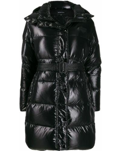 Черное длинное пальто с воротником с поясом Duvetica