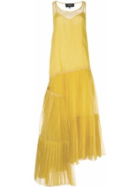 Желтое асимметричное платье со складками без рукавов Rochas