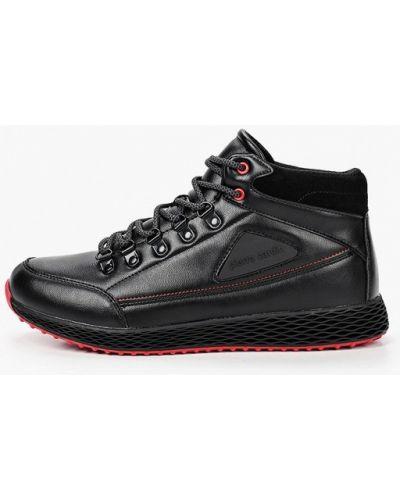Кожаные черные высокие кроссовки Pierre Cardin