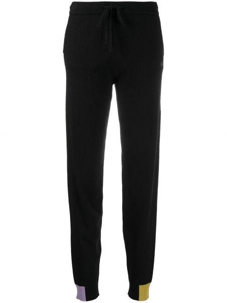 С кулиской шерстяные черные спортивные брюки с вышивкой Chinti & Parker