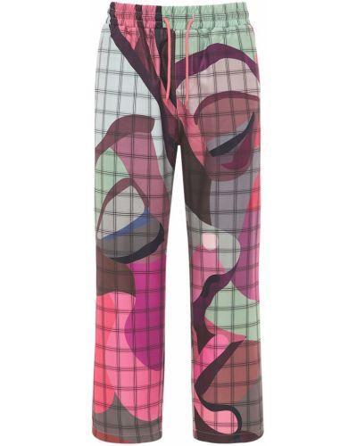 Różowe spodnie z haftem Kidsuper Studios