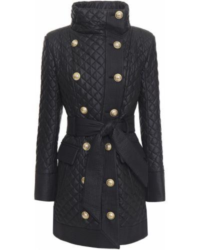 Черное пальто с карманами Balmain